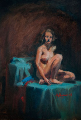 "Seated Nude 10"" x 14"""