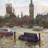 "Westminster from Hungerford bridge (14""X11"") - £495"