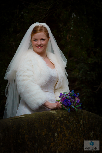 Bride Smiling on Bridge