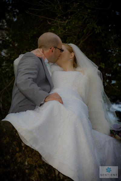 Bride & Groom Kiss on Bridge