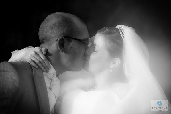 Bride & Groom Bridge Kiss - Mono