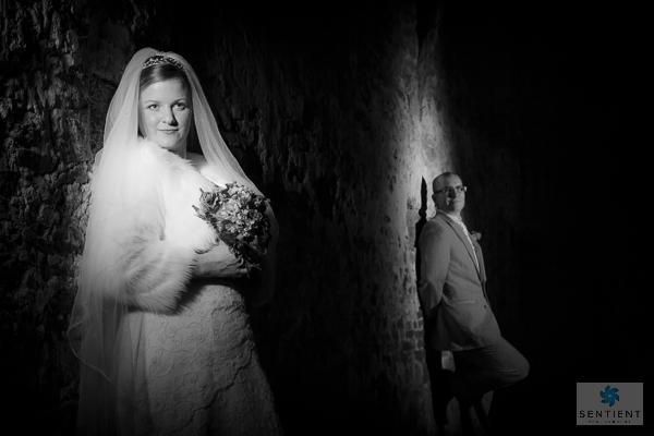 Mono Bride & Groom Barn Spotlight Portraits