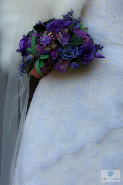 Wedding Dress & Bouquet Detail