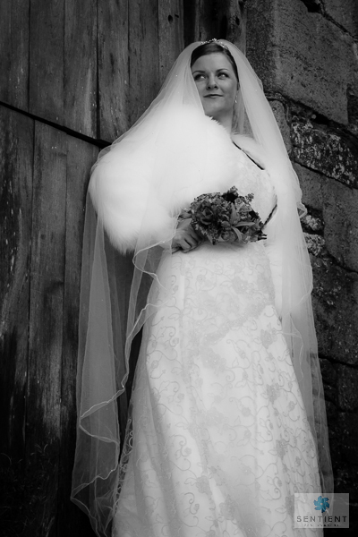 Bride & Barn Door Low Angle View Mono