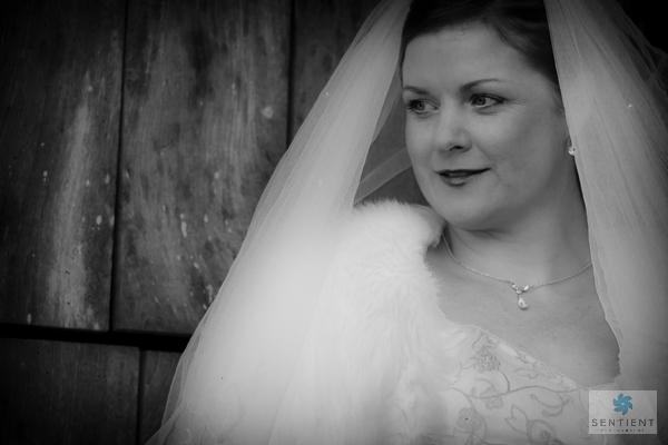 Bride Barn Door Portrait - Mono