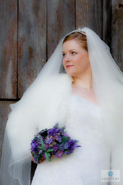 Bride, Bouquet & Barn Door in Profile
