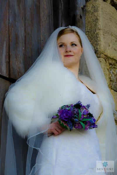 Bride & Barn Door 3/4 Low Angle View