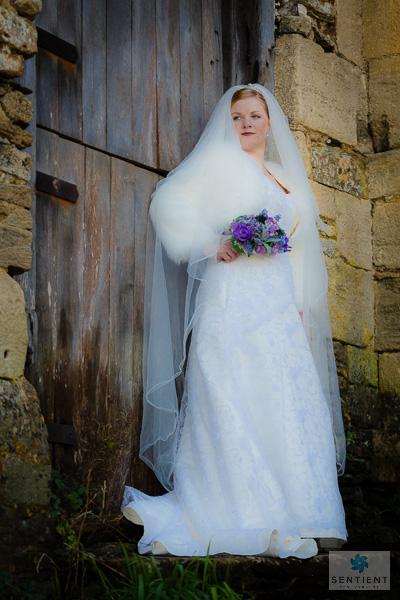 Bride & Barn Door Full Length Low Angle View