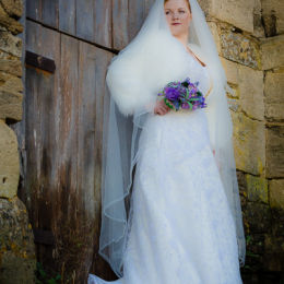 Bride & Barn Door Full Length Low Angle View