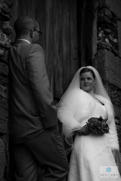 Groom, Bride & Barn Door Low Angle Mono
