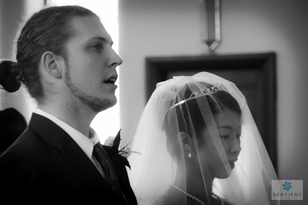 Groom & Bride Singing - B&W