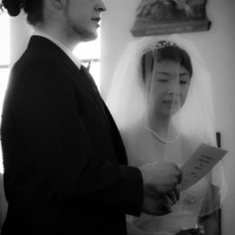 Groom & Bride With Order of Service - B&W
