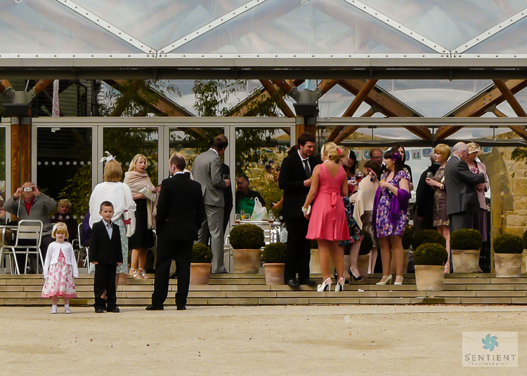 Wedding Guests Outside Pavilion