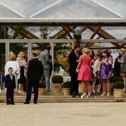 Wedding Guests Outside Pavilion