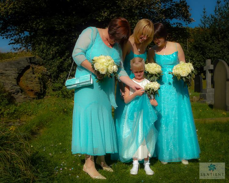 Bridesmaids Examine Dress