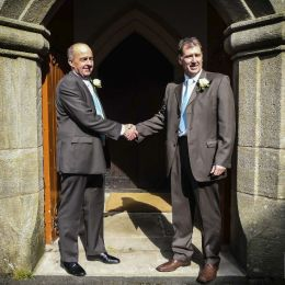 Groom & Best Man in Church Entrance