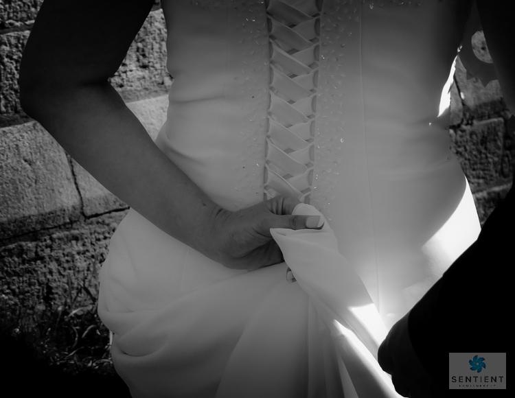 Bride Gripping Wedding Dress Train