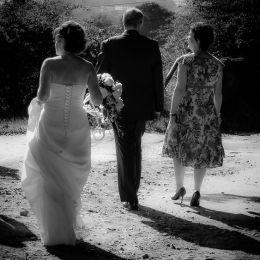 Bride, Groom & Guest Walk to Reception
