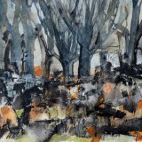 Trees in the Autumn Mist:  watercolour and ink on paper, 23 x 28 cm