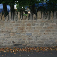Rebuilt mortared wall, Park Rd, Rushden