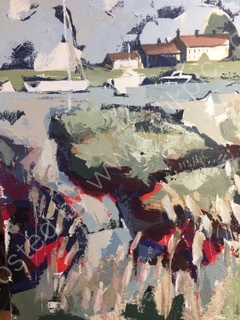 """Acrylic 16""""x22"""" of The river Blythe at Southwold"""