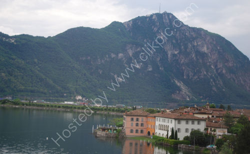 The causeway across Lake Lugano