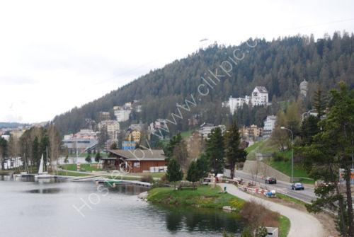 The shore of Lake St. Moritz