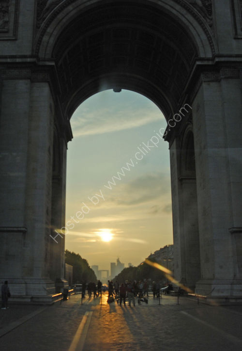 Framed by the Arche de Triomphe