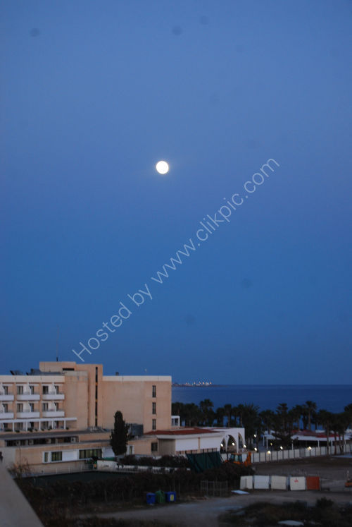 Moon over Paphos Airport