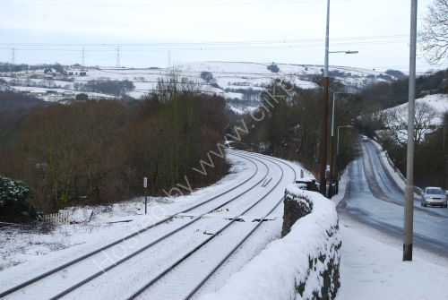 Railway and road in winter