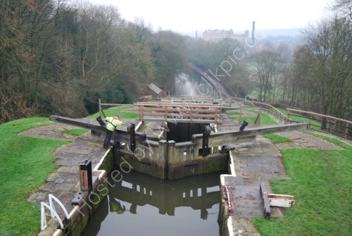 From the top of the Bingley 5 Rise Locks