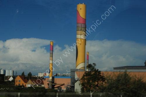 Colourful 'chimney' at Calais