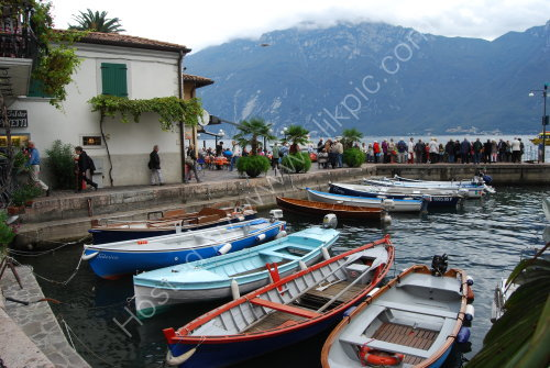 Colourful harbour at Limone