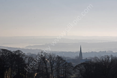 Silhouettes towards Emley Moor
