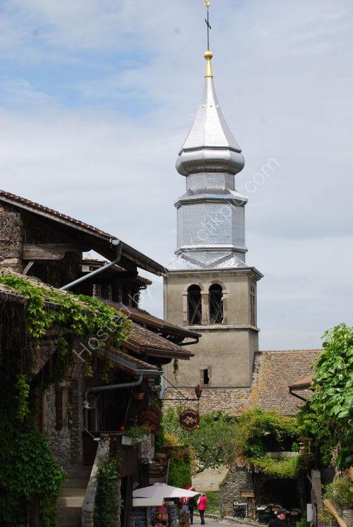 Shiny church tower