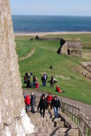Climbing up to Lindisfarne Castle