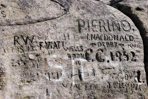 Carved grafitti