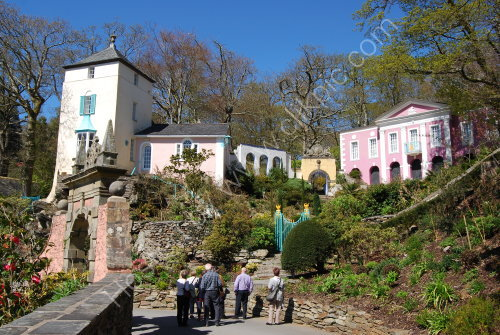 Brightly painted buildings at Portmeirion