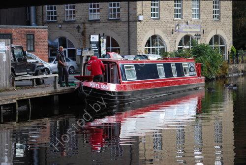Barge reflection at Hebden Bridge