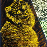 Cat Illustration-kiln-fired glass