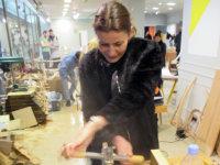 Heal's Creative Director Carmel Allen has a go on a 'rounder'