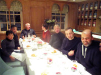 a welcome dinner at Fortnum's, (L-R) Noriko, Koji, Will Hobhouse, Sarah, Chris, William, Carl