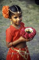 Indian Girl With Offering at Diwali
