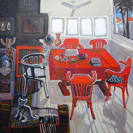 CHRISTINE WEBB Red Table 137x137cm