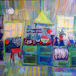 SOLD 2012, Cucina Caotica II,138x138 cm-acrylic-oil-canvas