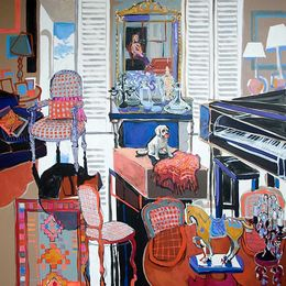 SOLD 2013, Elvis Wants a Walk, Dixies Parlour,138x138-acrylic-oil-canvas