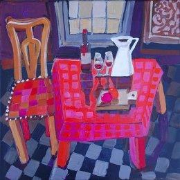 Christine Webb Table at Number 34 #5 Acrylic on Canvas 30.5x30.5cm e