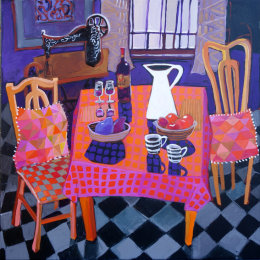 Christine Webb Table at Number 34 Large Acrylic on Canvas 91x91cm