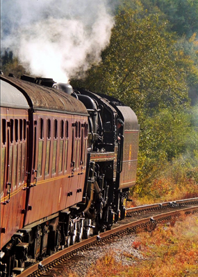 Steaming down the track