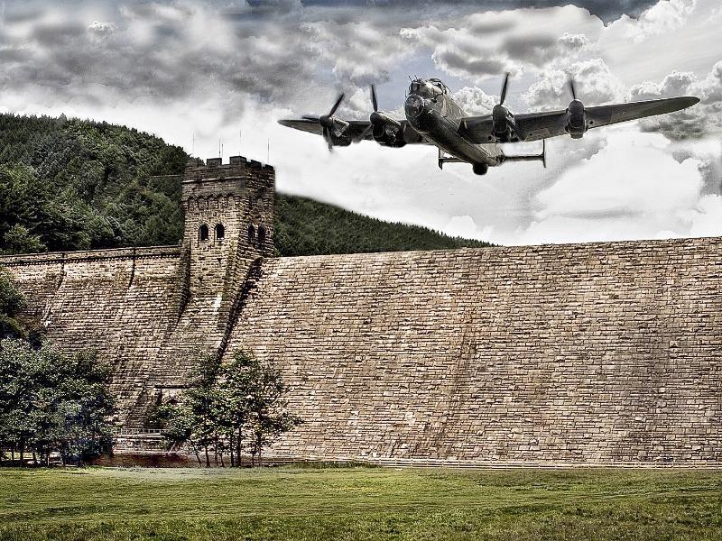 Top Lancaster Flying over Derwent Dam by Brian Spray